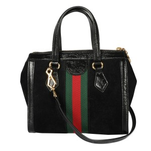 Gucci Black Suede & Patent Leather Small Ophidia Tote Bag