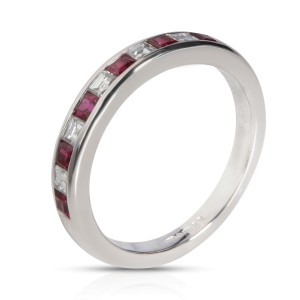 Tiffany & Co. Channel Set Ruby Diamond Band in  Platinum 0.25 CTW