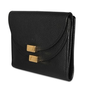 Chloé Black Pebbled Leather Georgia Compact Wallet