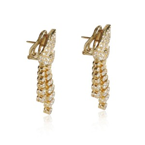 Leaf Earrings with Removable Diamond Drop Earrings in  18KT Yellow Gold 2.50 CTW