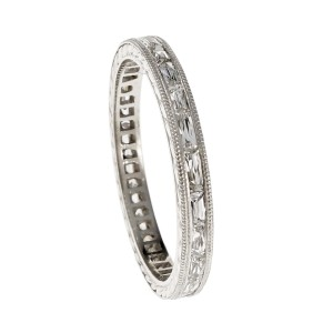 Peter Suchy Platinum with 0.70ct French Cut Baguette Diamond Wedding Band Ring Size 5.5
