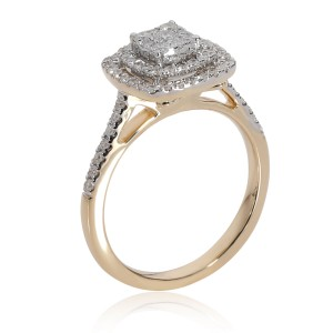 Double Halo Cluster Diamond Engagement Ring in 14K Yellow Gold 1