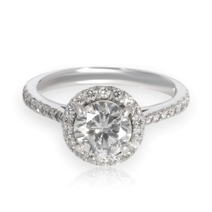 Halo Diamond Engagement Ring in Platinum EGL Certified F SI2 1.05