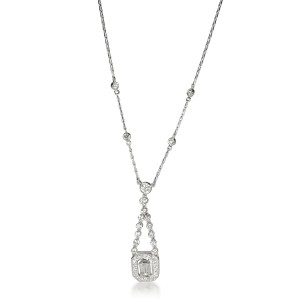 Kwiat Halo Diamond Drop Necklace in 18K White Gold 1.11