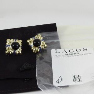 Lagos  18k Yellow Gold  Sapphire; Onyx Earrings