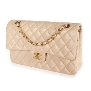Chanel Beige Quilted Lambskin Medium Classic Double Flap Bag