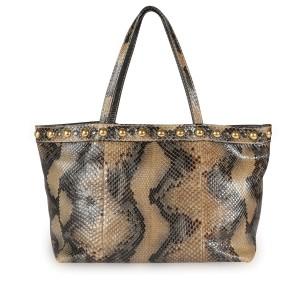 Gucci Brown Studded Python Babouska Tote