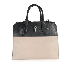 Louis Vuitton Black & Galet Calfskin City Steamer MM