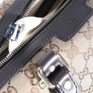Gucci Brown GG Canvas & Leather Boston Bag