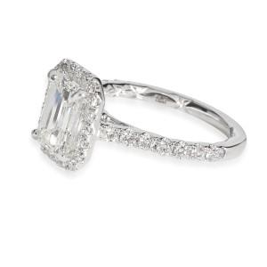 Emerald Halo Diamond Engagement Ring in 14K White Gold G VS2 2.01