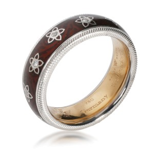 Wellendorf Spinning Flower Angel Enamel Diamond Ring in 18K White Gold 0.08