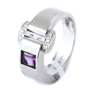 Piaget 18K White Gold Diamond Amethyst Miss Protocole Ring