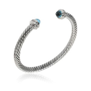 David Yurman Cable Diamond Bracelet in  Sterling Silver 0.30 CTW
