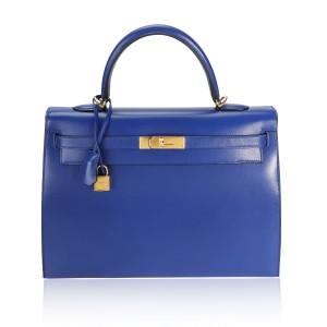 Hermès Bleu Electrique Tadelakt Sellier Kelly 35 GHW