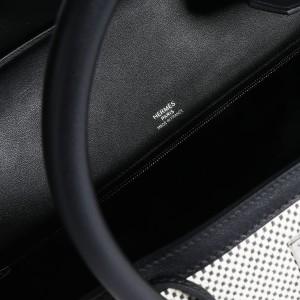 Hermès Black Swift Leather & Ecru Toile Birkin 40 PHW