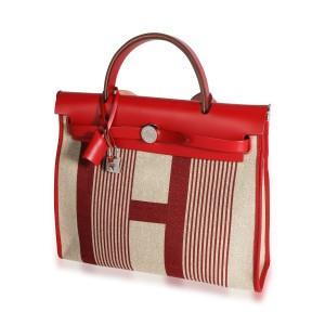 Hermès Rouge Piment Vache Hunter & Ecru Canvas Vibration Herbag 31 PHW