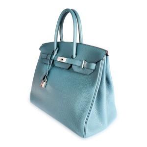 Hermès Bleu Orage Clémence Birkin 35 PHW
