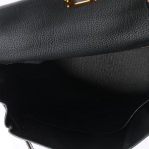 Hermès Black Togo & Niloticus Crocodile Retourne Kelly Touch 28 GHW