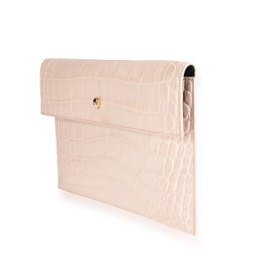 Alexander McQueen Blush Crocodile-Embossed Leather Skull Pouch