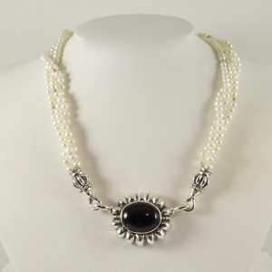 Lagos  Sterling Silver  Pearl; Onyx Necklace
