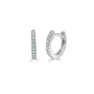 Diamond Huggie Earrings in 14KT White Gold 0.05 ctw