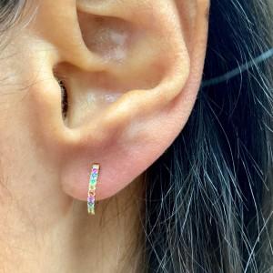 Rainbow Sapphire Huggie Earrings in 14KT Yellow Gold