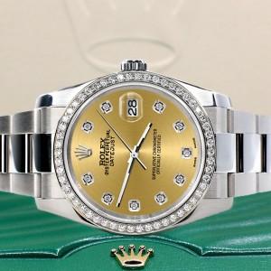 Rolex Datejust 36MM Steel Oyster Watch with Custom Diamond Bezel/Champagne Diamond Dial 116200