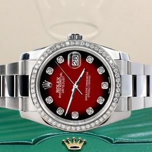 Rolex Datejust 36MM Steel Oyster Watch with Custom Diamond Bezel/Vignette Red Diamond Dial 116200