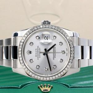 Rolex Datejust 36MM Steel Oyster Watch with Custom Diamond Bezel/Silver Diamond Dial 116200
