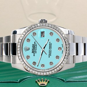 Rolex Datejust 36MM Steel Oyster Watch with Custom Diamond Bezel