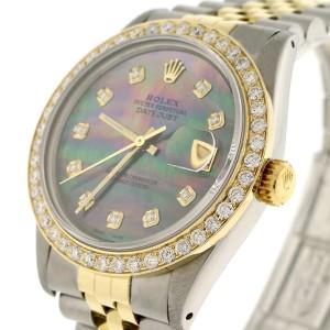 Rolex Datejust 2-Tone 18K Yellow Gold & Stainless Steel 36MM Automatic Jubilee Mens Watch w/Tahitian Diamond Dial & 1.9Ct Bezel