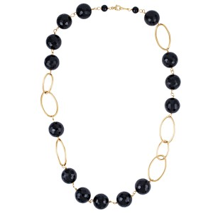 14KY Faceted Black Onyx Necklace
