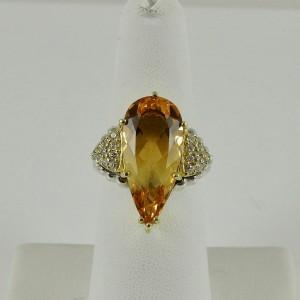 Lagos  Sterling Silver .40tcw; G-H; VS2 Citrine, Diamond Ring
