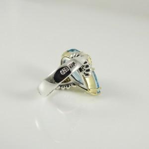 Lagos  Sterling Silver .40tcw; G-H; VS2 Blue Topaz, Diamond Ring