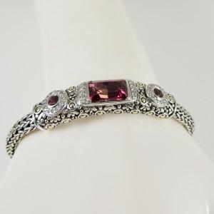 John Hardy  Sterling Silver .27tcw Pink Topaz, Diamond Bracelet