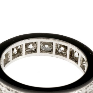 Platinum with Diamond Wedding Band Ring Size 6.5