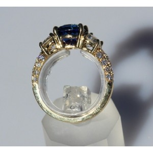 18K Yellow Gold Sapphire Diamond Ring Size 7