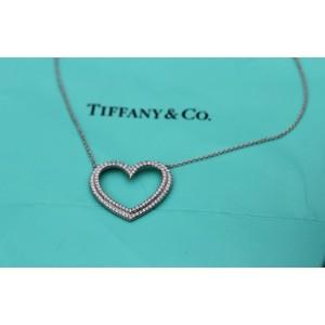 Tiffany & Co. 18K White Gold Large Metro Heart Diamond Necklace