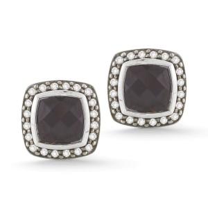 David Yurman SS 7mm Cushion Albion Pave Earrings with Rhodolite Garnet and Diamonds