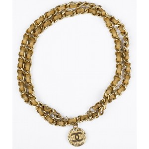 Chanel Coin Gold and Beige Chain Necklace Belt
