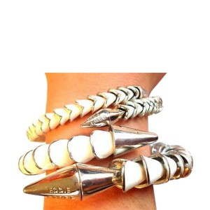 Eddie Borgo Silver Plated Enamel Serpent Spike Bangle Set of 2