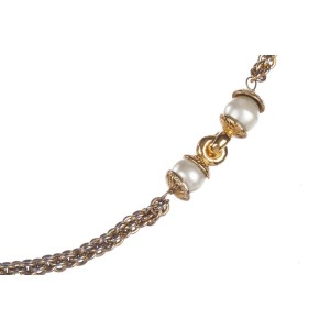 Chanel Faux South Sea White Simulated Glass Pearl Chain Flapper Necklace