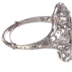 Art Deco Platinum and 18K Gold Diamond Filigree And Blue Sapphire Millgrain Vintage Ring Size 7