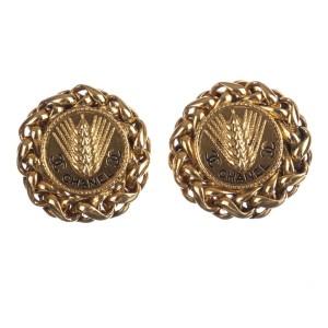 Chanel Monogram Wheat Earrings
