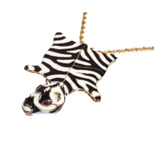 Kenneth Lane Enamel Zebra Necklace