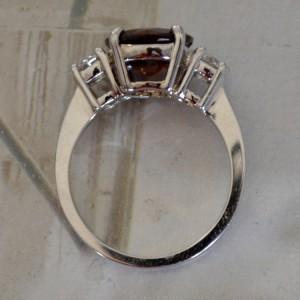 White Gold Garnet  & Diamond Engagement Ring