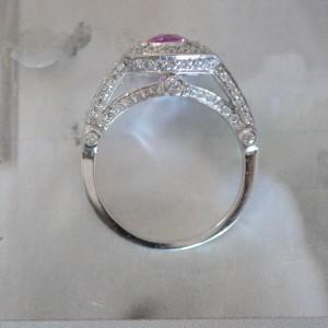 Platinum Pink Sapphire and Diamond Engagement Ring