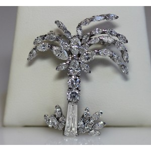 18K White Gold Diamond Palm Tree Brooch