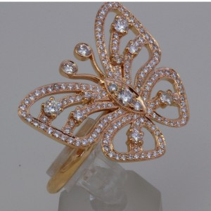 Rose Gold Diamond Butterfly Ring