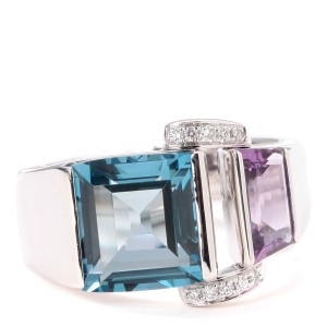 PIAGET 18k White Gold Blue Topaz Ring
